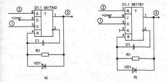 импульсов- а) на D-триггере;